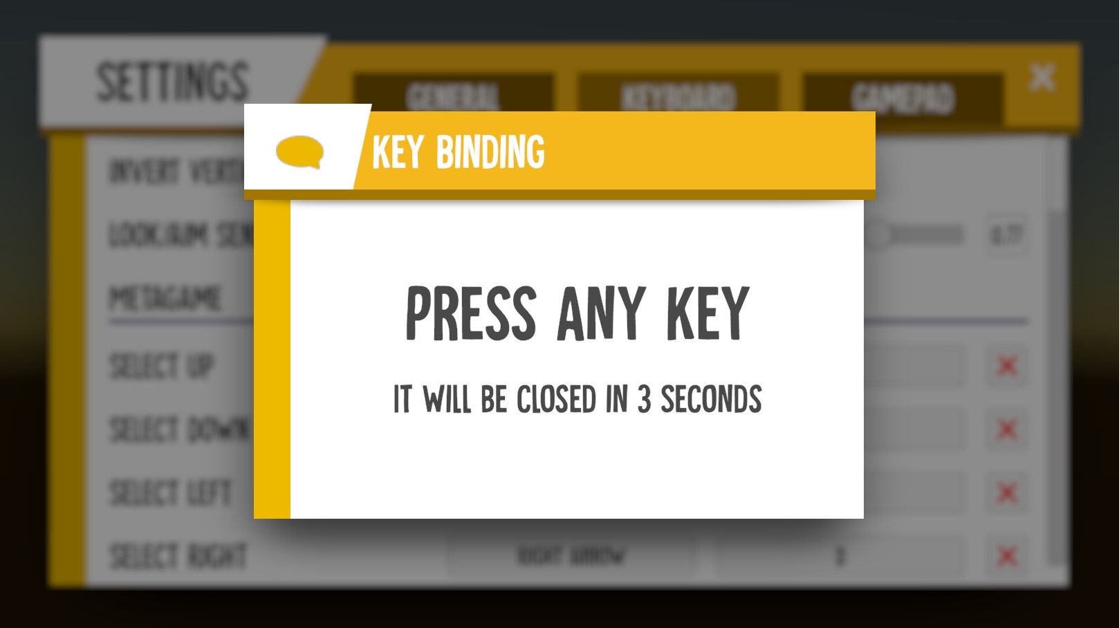 LIGHT⚡NITE – Settings dialog: key binding
