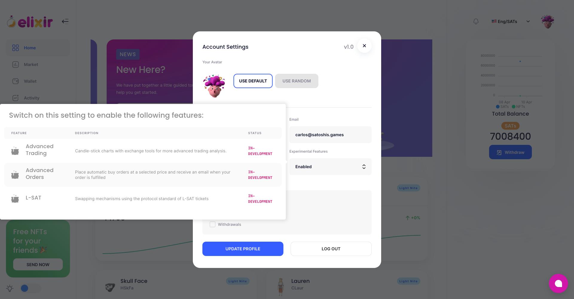 Account settings - Elixir Marketplace